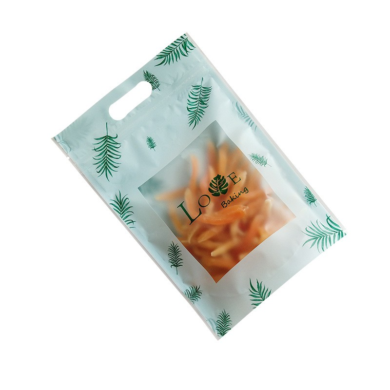 (Set 10 túi) Túi Zip đựng bánh kẹo hình lá cây