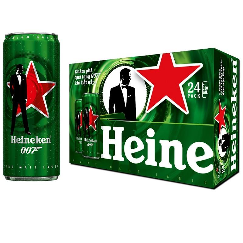 Hình ảnh Thùng 24 Lon Bia Heineken Sleek James Bond Bản Giới Hạn Bật Nắp Trúng Vàng 330ml