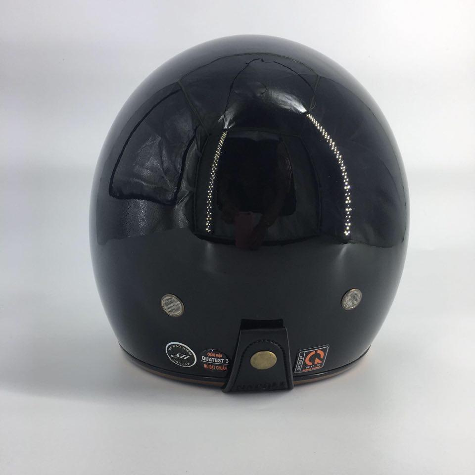 Mũ Bảo Hiểm ¾ Napoli Sh2 Ruby - Màu Đen Bóng
