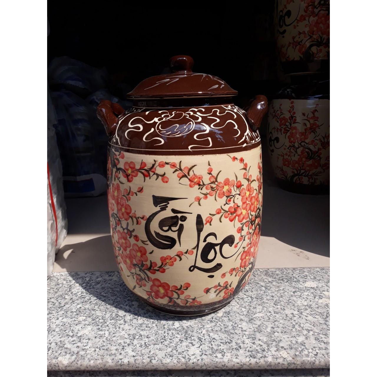 Hũ đựng rượu gạo vẽ hoa đào bát Tràng loại 15L ( 10Kg gạo)