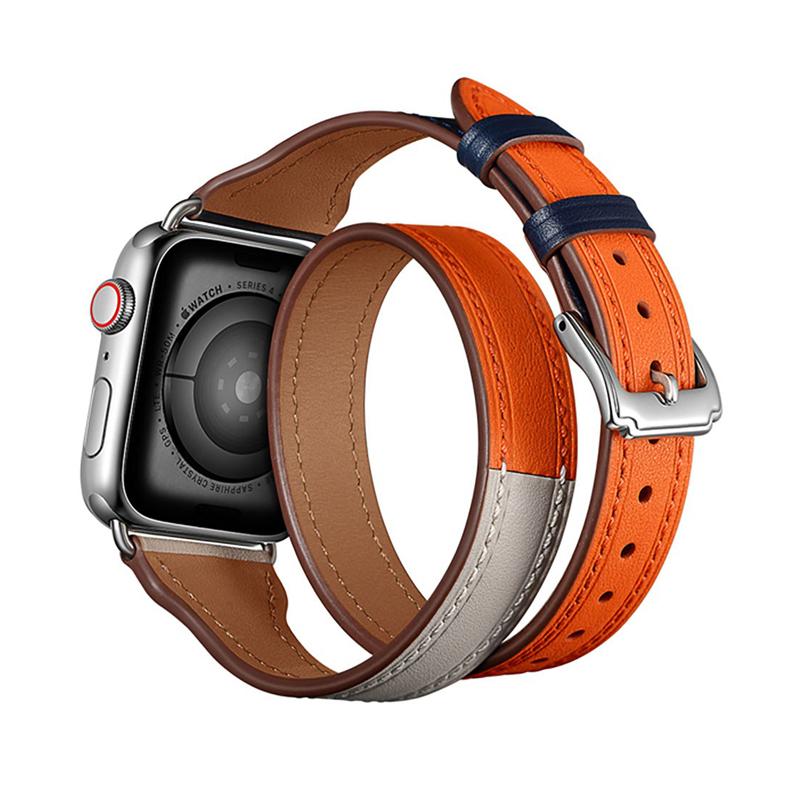 Dây đeo Apple Watch 42mm & 44mm JINYA Magical Leather - Cam - Hàng chính hãng