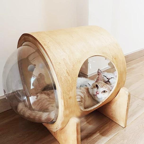 """Nhà Gỗ """"Phi Hành Gia"""" Cho Mèo #CH008"""