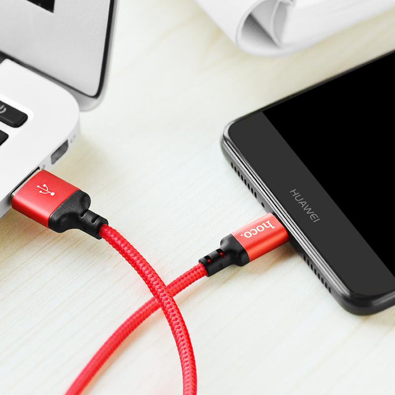 Cáp USB to type-C dây dù X14 chính hãng Hoco 1,2m (màu ngẫu nhiên)
