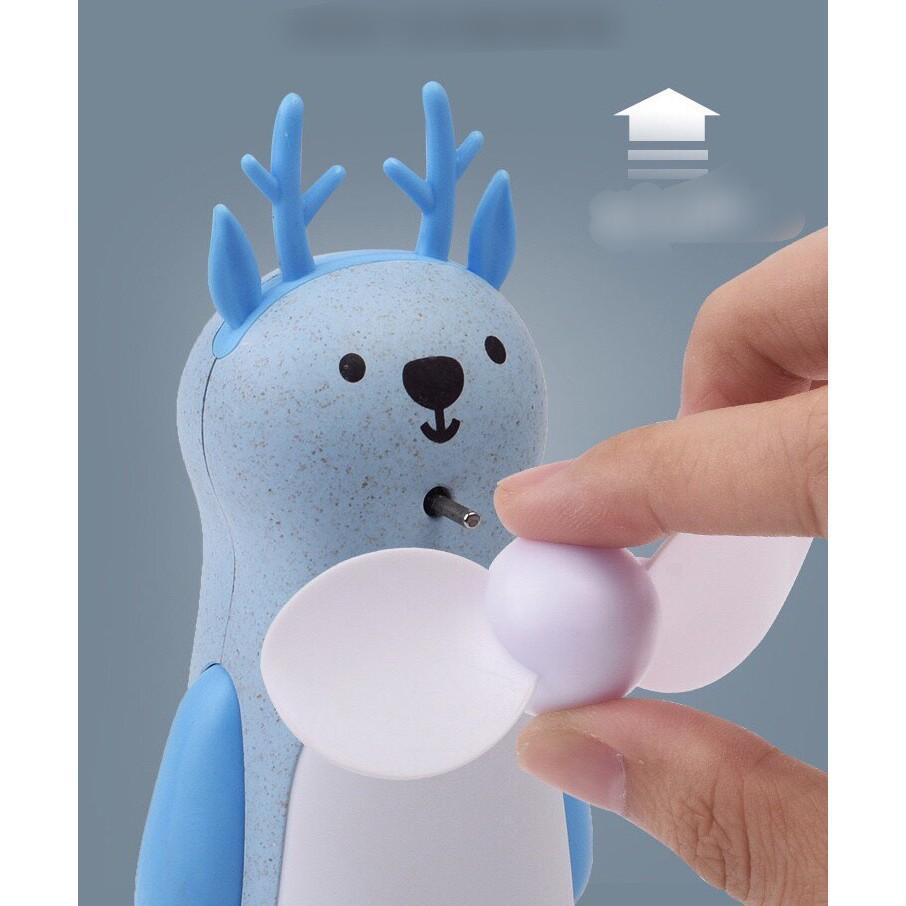 QUẠT THỔI BONG BÓNG HÌNH THÚ SẠC PIN CÓ ĐÈN-Máy thổi bong bóng hình thú kiêm quạt mini cầm tay sạc pin để bàn
