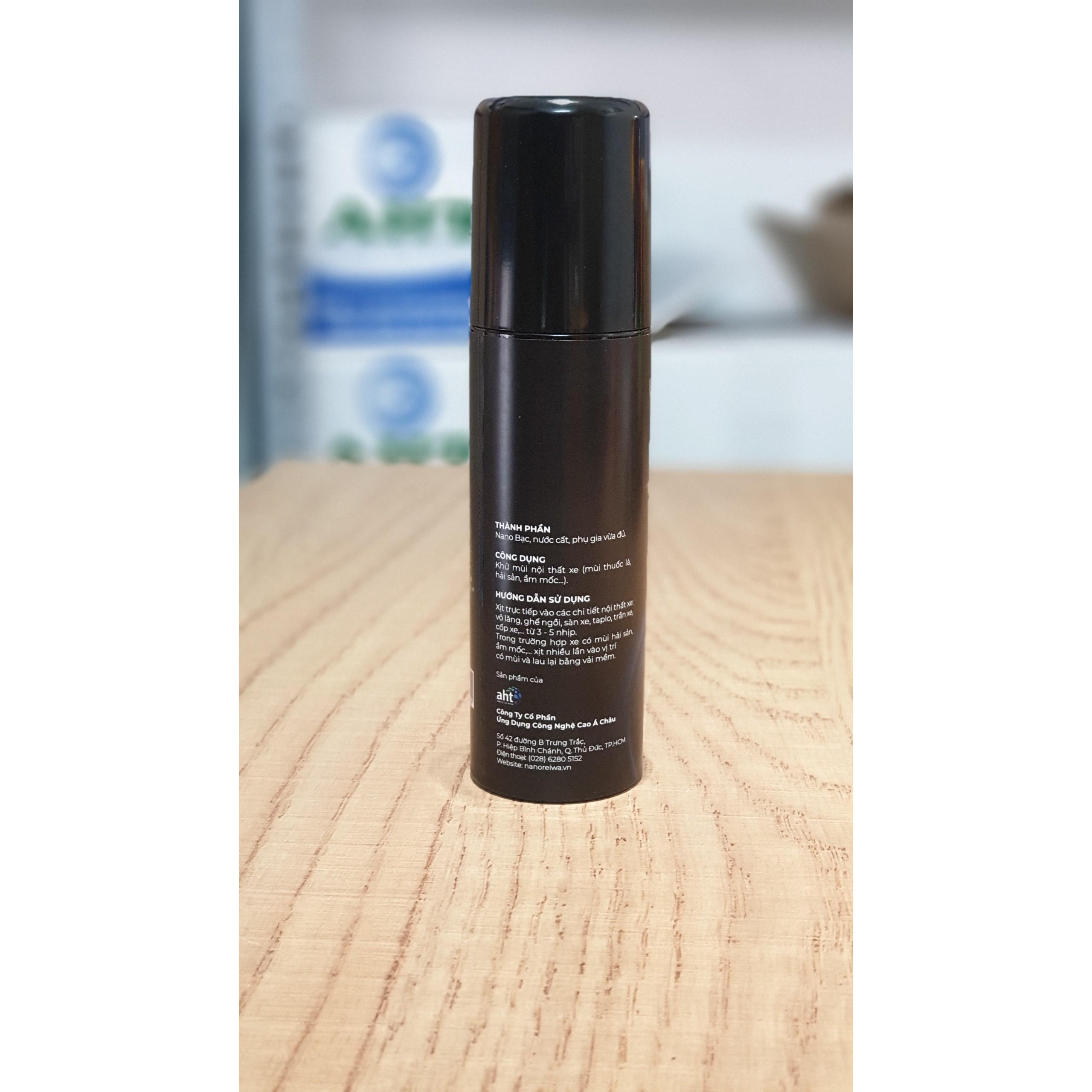 Chai xịt diệt khuẩn khử mùi ô tô xe khách bằng nano bạc Nano Reiwa 100ml hương quế dịu nhẹ, được chứng nhận viện Pasteur an toàn cho trẻ em - Hàng chính hãng