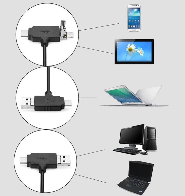 Đầu đọc thẻ đa năng combo Hub USB OTG + Type-C