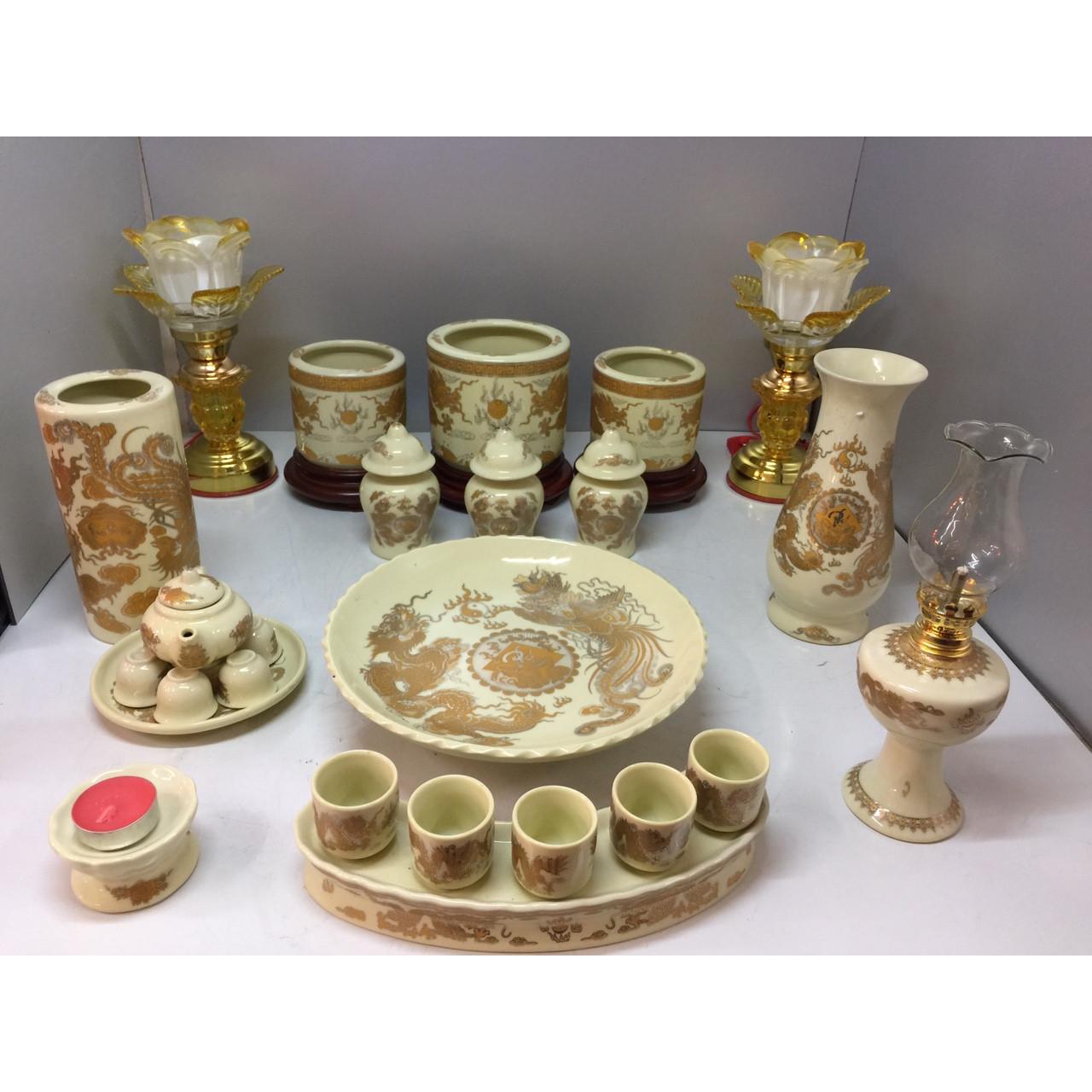 Bộ bát hương thờ rồng vàng ( gốm sứ bát tràng cao cấp)  comboo cả bộ 3 Bát hương + tặng tro đủ bát hương tặng nước sái tịnh đồ thờ