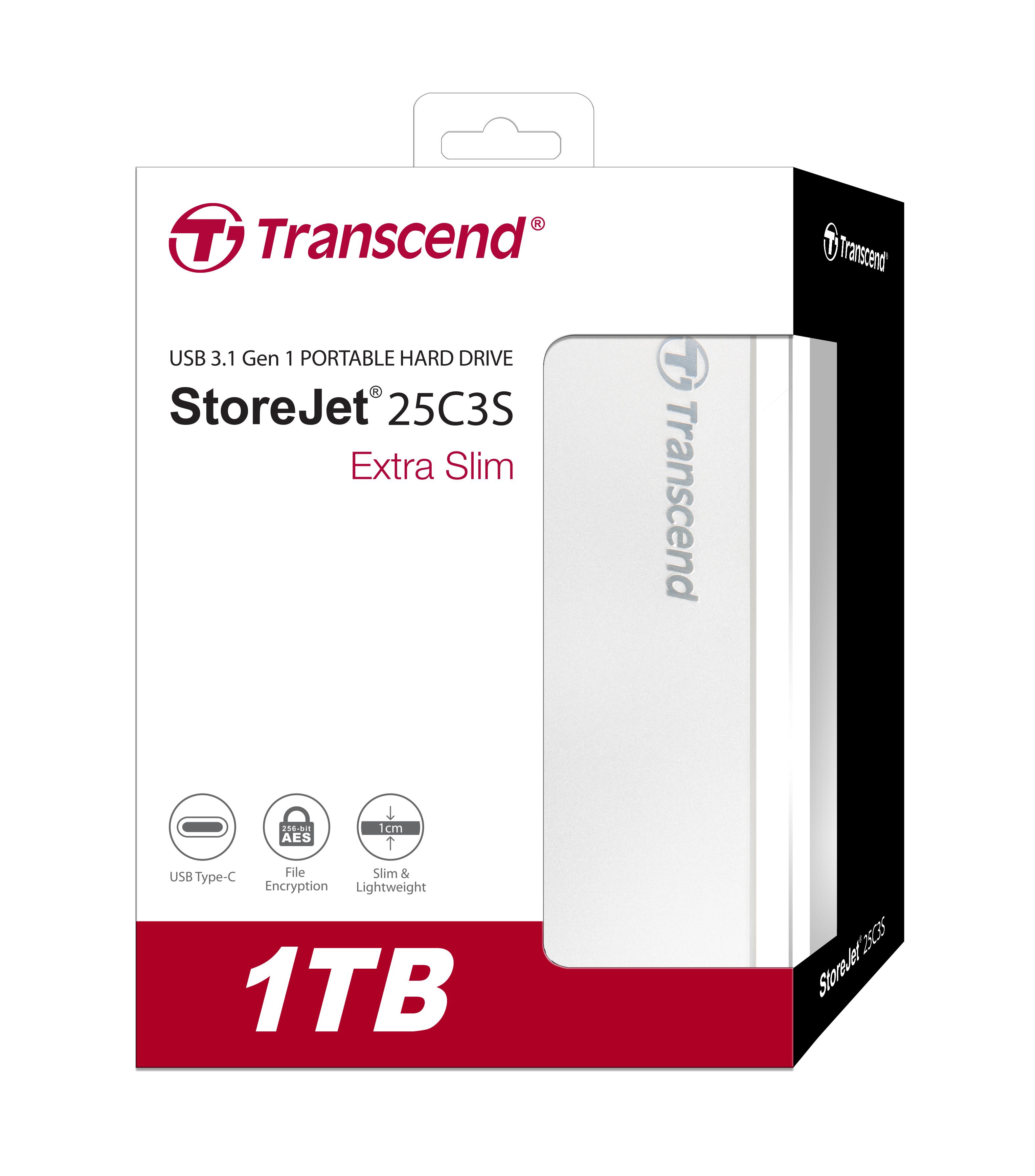 Ổ Cứng Di Động Transcend 1TB StoreJet 25C3S Extra Slim USB 3.1 - Hàng Chính Hãng