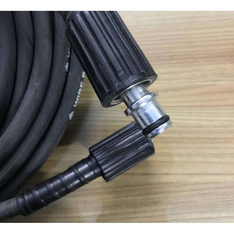 10m Ống dây rửa xe cao cấp lõi thép Taiwan:Ren trong 22mm đen -2 đầu bằng