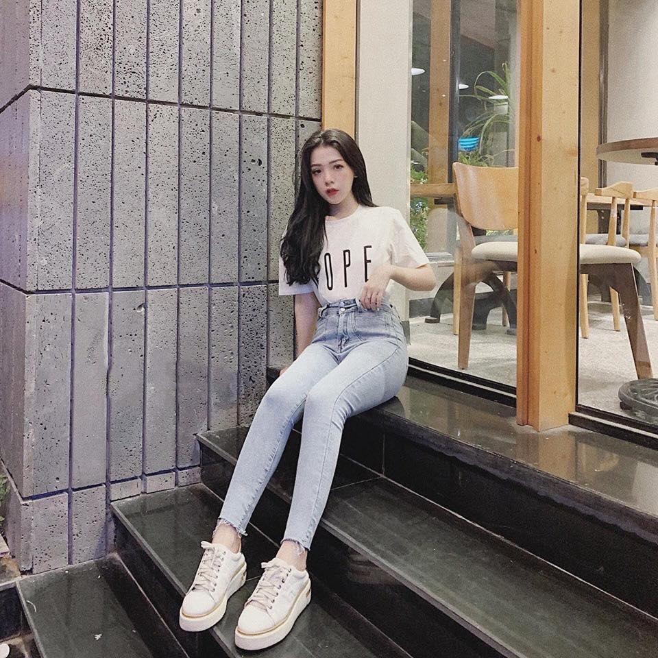 Quần Jeans Nữ Lưng Cao 2 Nút Phối Túi Trước Thời Trang