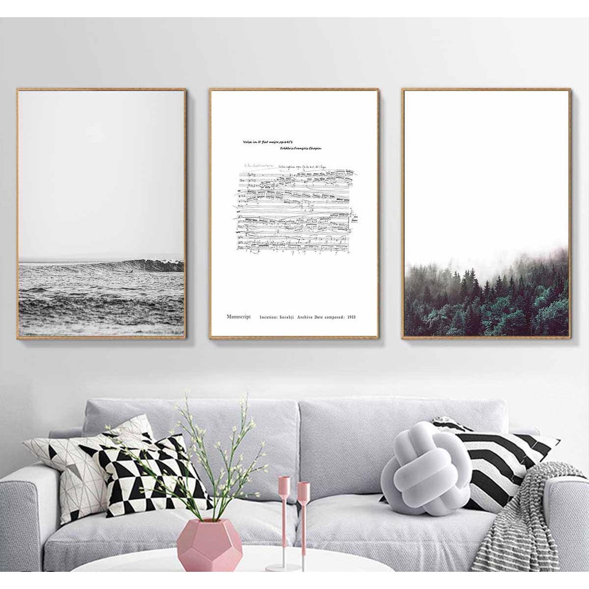 Set 3 tranh canvas phong cảnh trắng đen phong cách tối giản 30x40cm DC0031