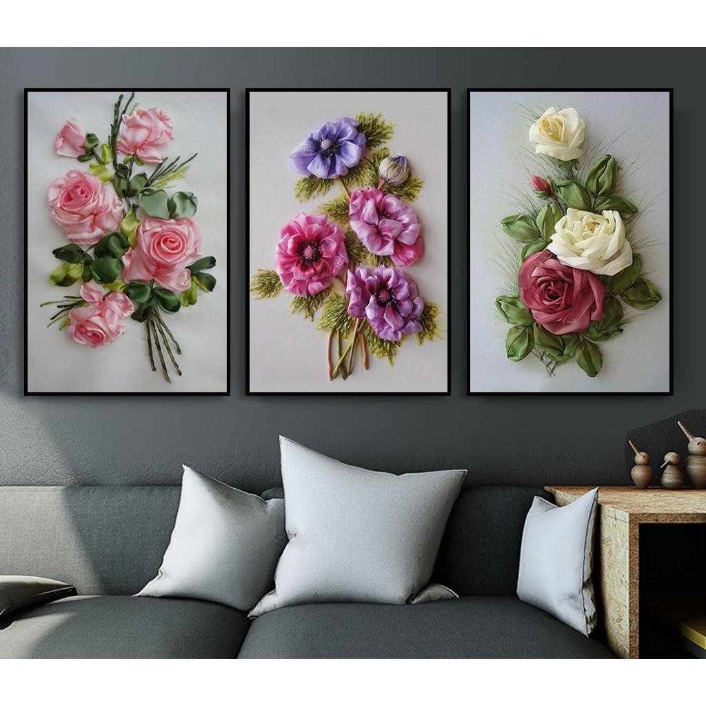 Bộ Tranh Hoa Hồng 3D Tranh Canvas Trang Trí Treo Tường