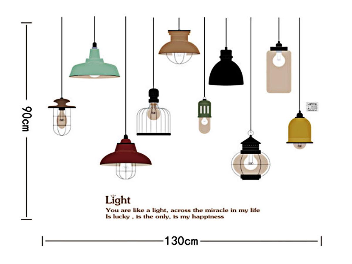 Decal dán tường đèn treo chữ light jm7306