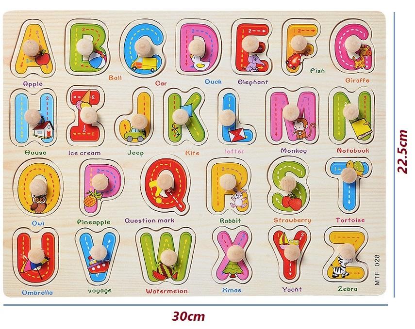 Bảng ghép hình chữ cái, chữ số, phương tiện giao thông núm gỗ(3 bảng)