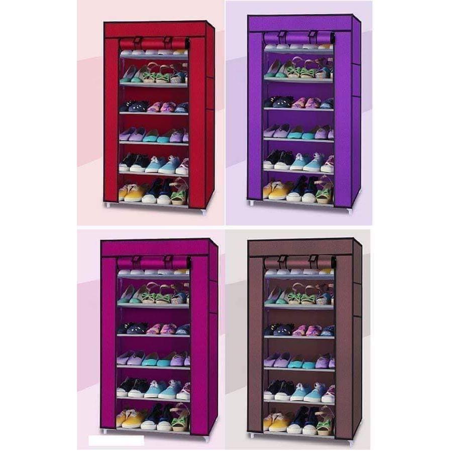 Tủ vải đựng giày dép 7 tầng 6 ngăn tiện dụng - giao màu ngẫu nhiên