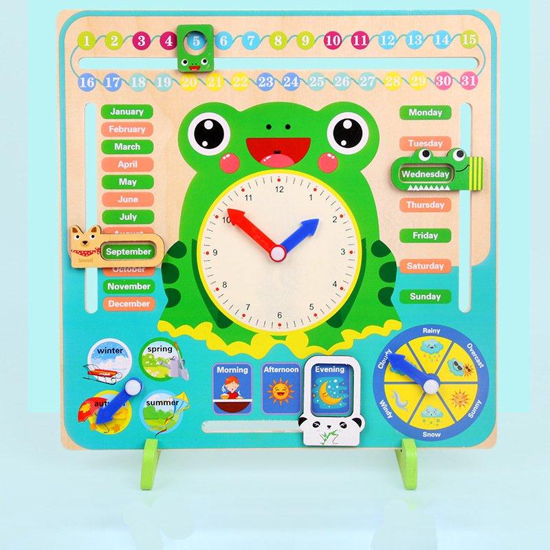 Đồng hồ lịch hình chú ếch đồ chơi gỗ cho bé