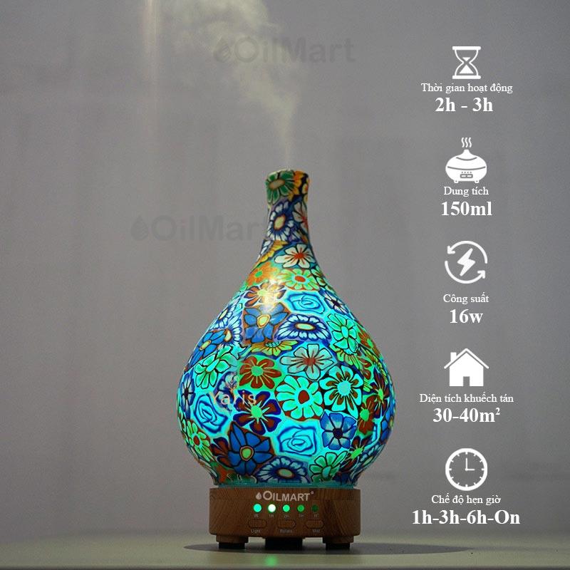 Máy Khuếch Tán Tinh Dầu Oilmart Bình Hoa Văn Xoay - 16W 150ml