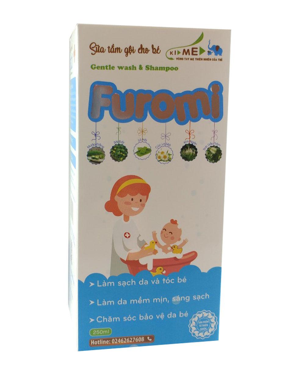 Sữa Tắm Gội Cho Bé Furomi 250ml từ 100% dược liệu thiên nhiên giúp làm sạch da, mềm da và tóc hàng ngày cho trẻ, hoàn toàn không gây cay mắt, phòng ngừa rôm rảy, viêm da (3 HỘP)