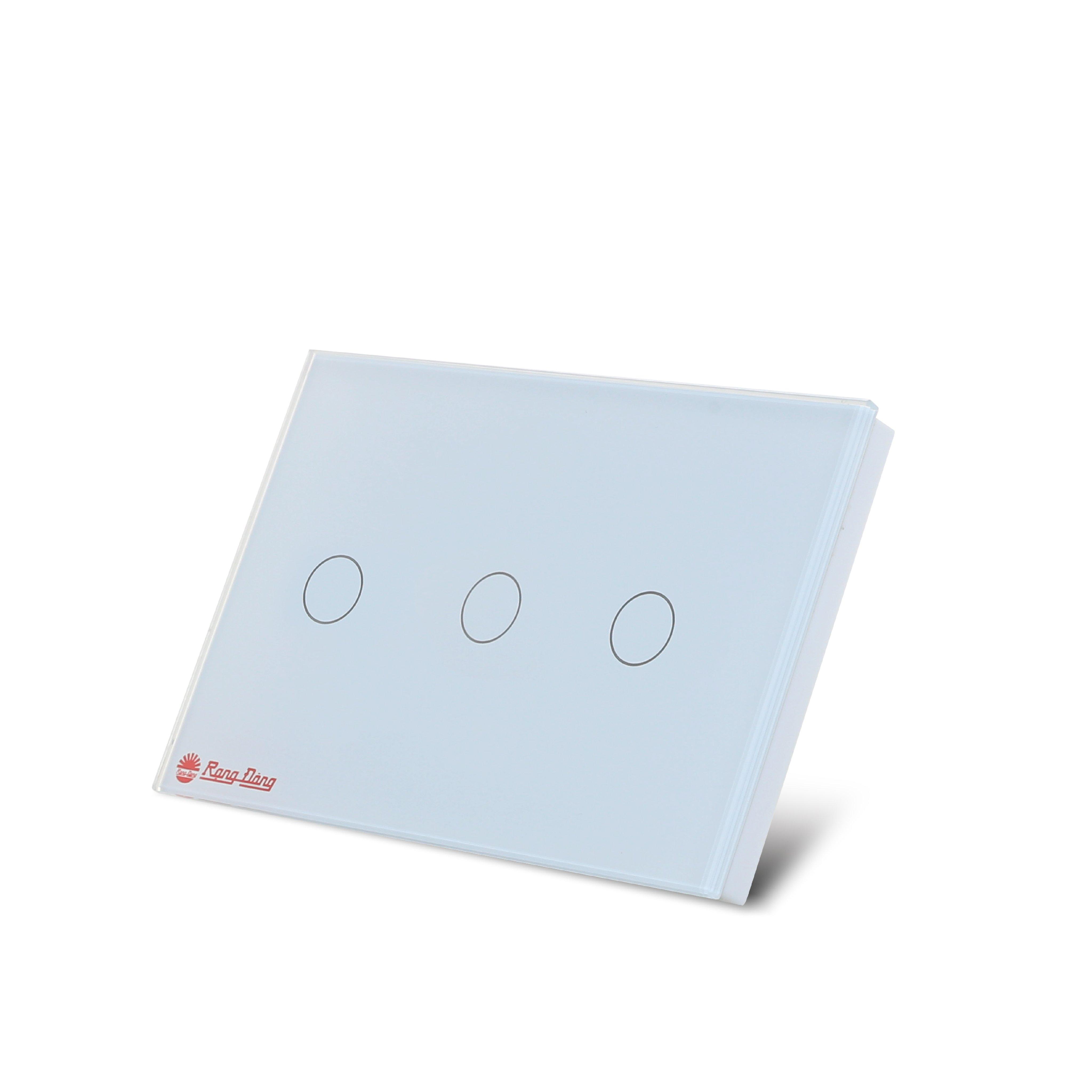 Công tắc cảm ứng âm tường điều khiển từ xa bằng wifi và giọng nói 3 nút bấm chính hãng Rạng Đông Model: RD SW.3