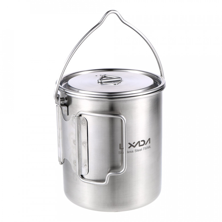 Lixada 750ml Stainless Steel Pot Portable Water Mug Cup With Lid And Foldable Handle Outdoor Camping Cooking Picnic - Pot