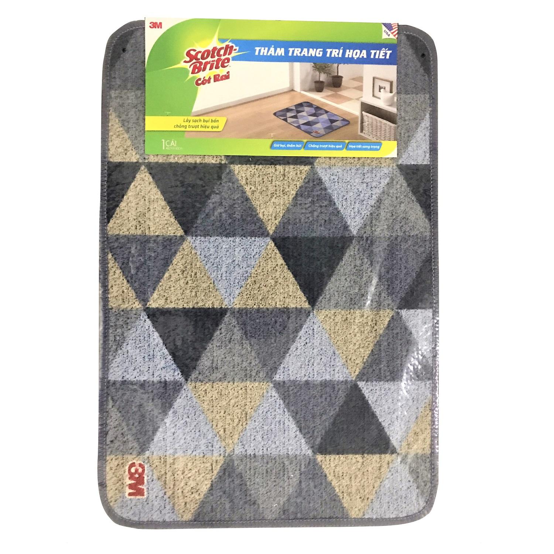 Thảm lót sàn trang trí họa tiết tam giác Scotch-Brite 3M - 40x60cm