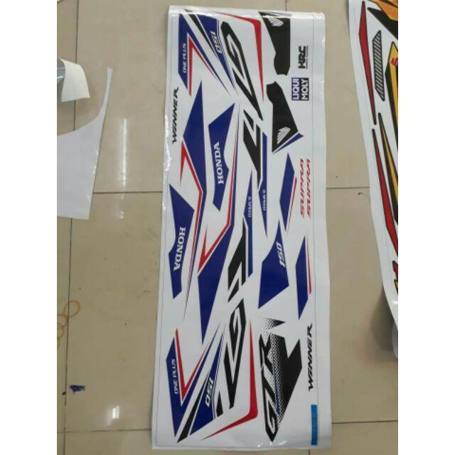 Tem dán dành cho xe máy Winner V1 mẫu GTR Trắng xanh (bộ)