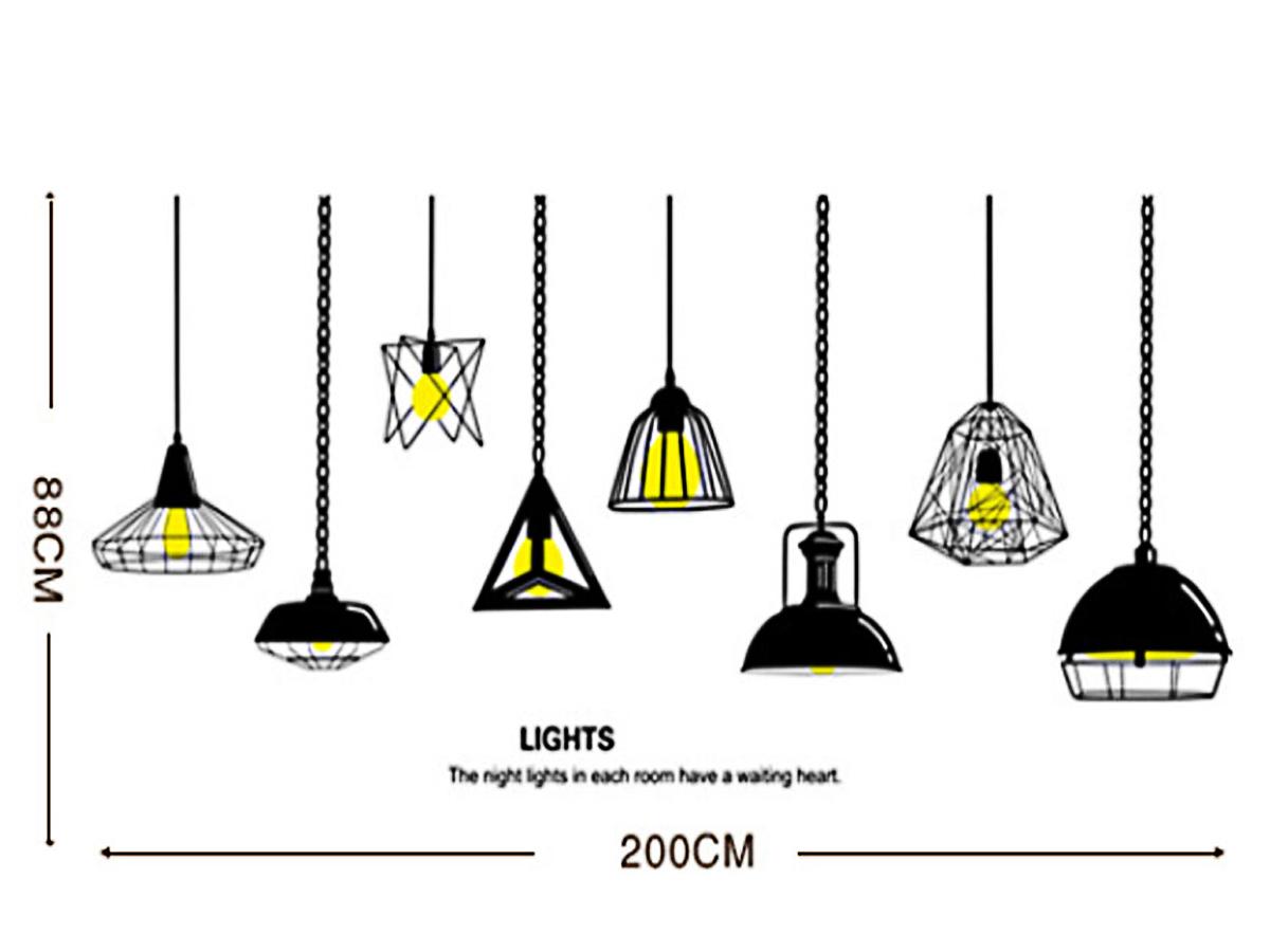 Decal dán tường đèn vàng đen xc9016