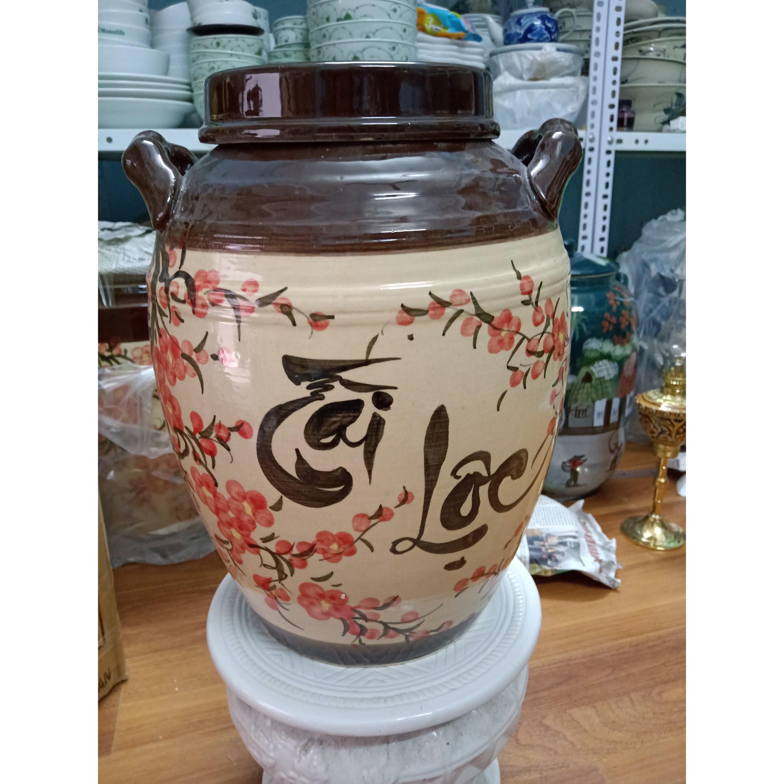 hũ đựng rượu gạo vẽ hoa đào Bát Tràng nắp bằng loại 20L ( đựng 15Kg gạo )