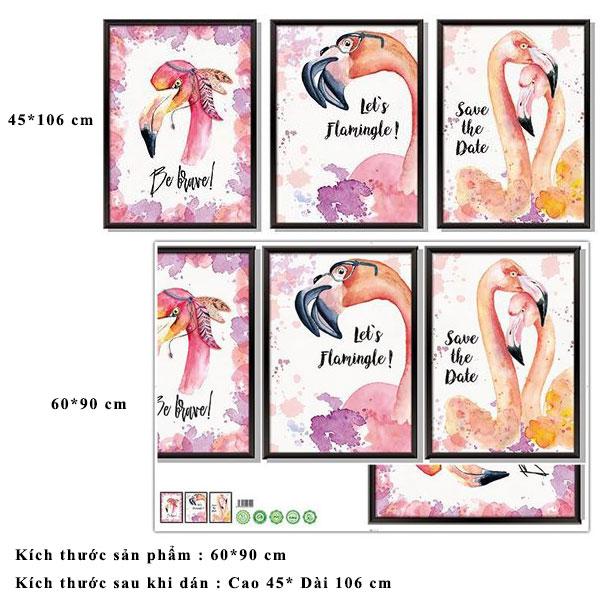 Decal dán tường khung tranh chim hồng hạc ZOOYOO XL8323