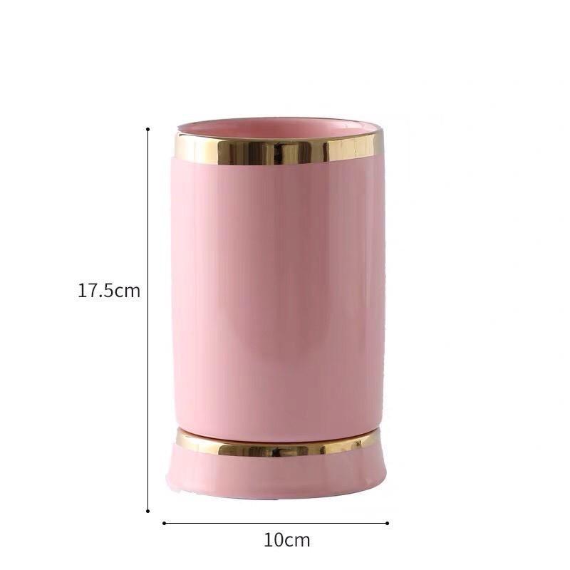 Ống đựng đũa sứ viền vàng có chân kê tách rời cao cấp - VS391