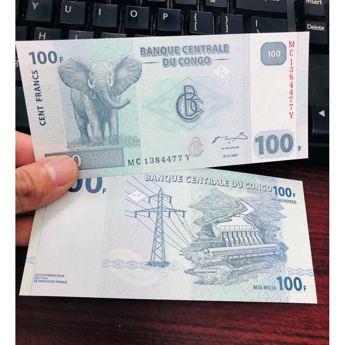 Tờ tiền giấy Congo 100 Francs hình chú voi, đất nước không có tết, sưu tầm tiền