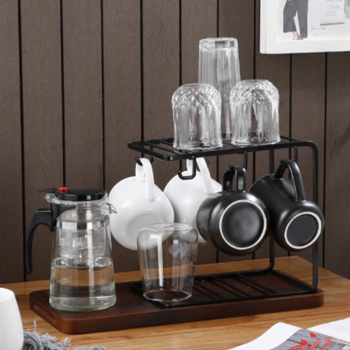 Bộ khay để ấm trà và giá treo ly cốc ( Mầu ngẫu nhiên )