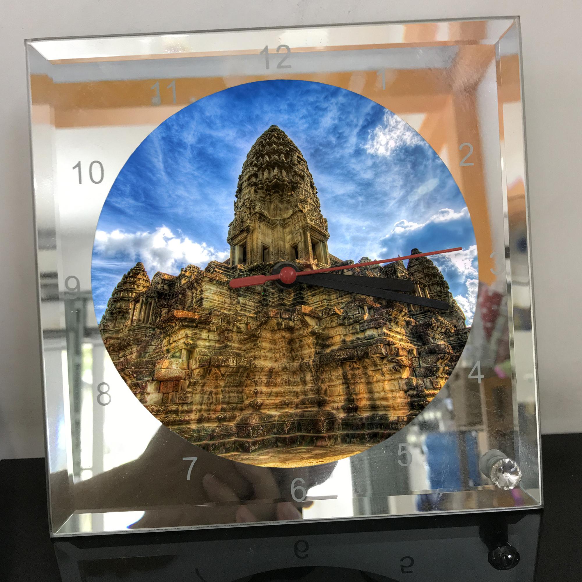 Đồng hồ thủy tinh vuông 20x20 in hình Temple - đền thờ (74) . Đồng hồ thủy tinh để bàn trang trí đẹp chủ đề tôn giáo