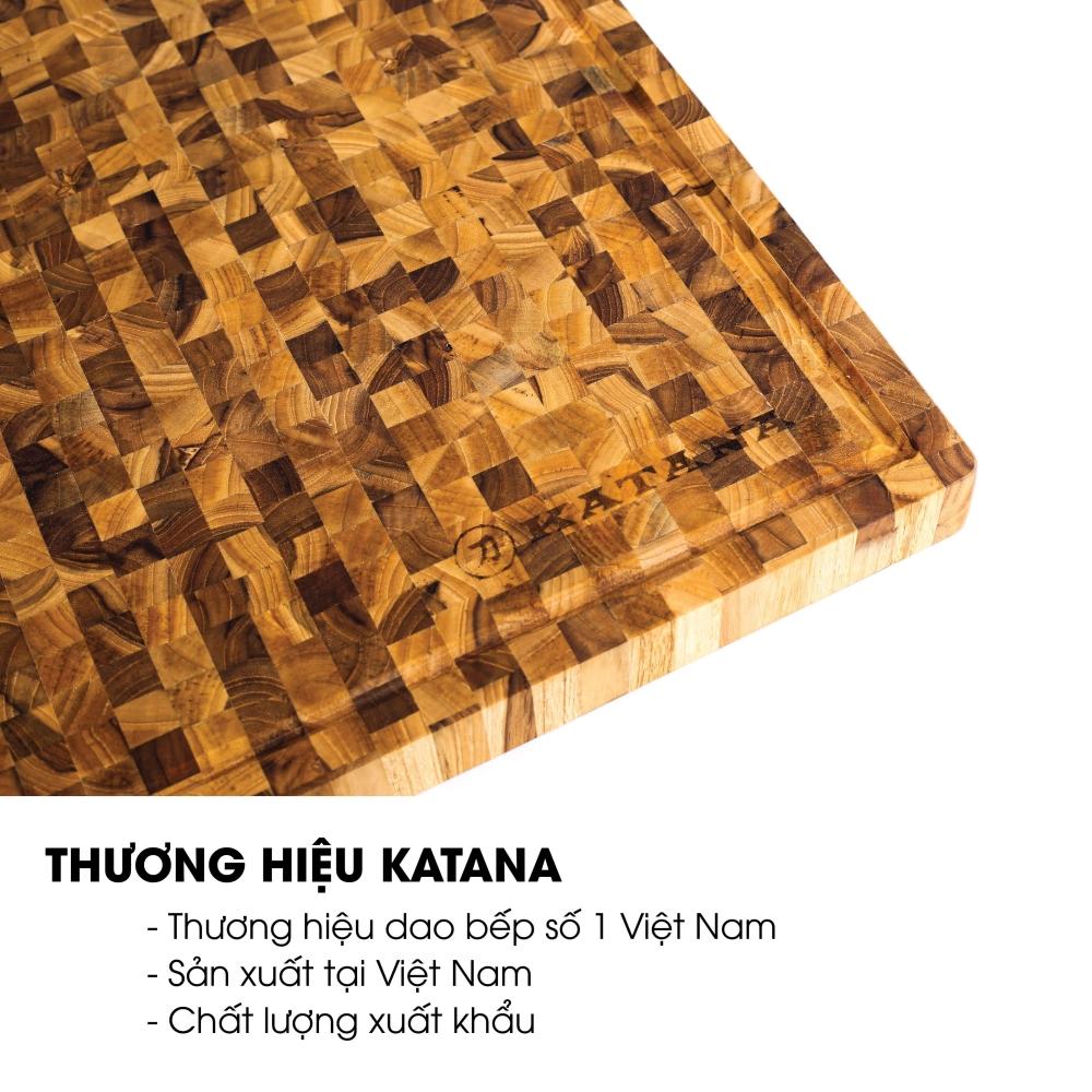 Thớt gỗ Teak đầu cây cao cấp KATANA cỡ lớn - KT07