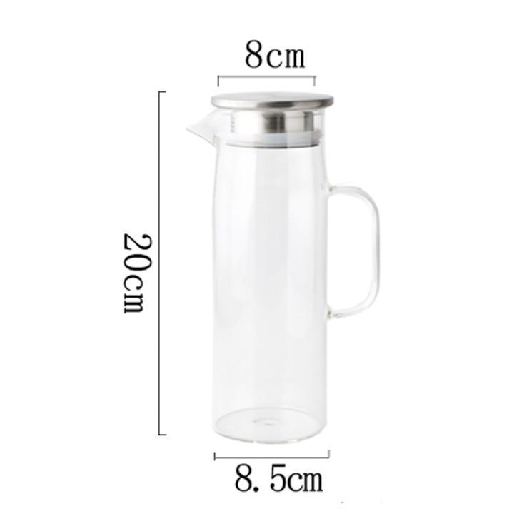 Bình thủy tinh dáng cao Tặng 2 cốc thủy tinh – bình đựng nước 1000ml Tặng 2 ly thủy tinh
