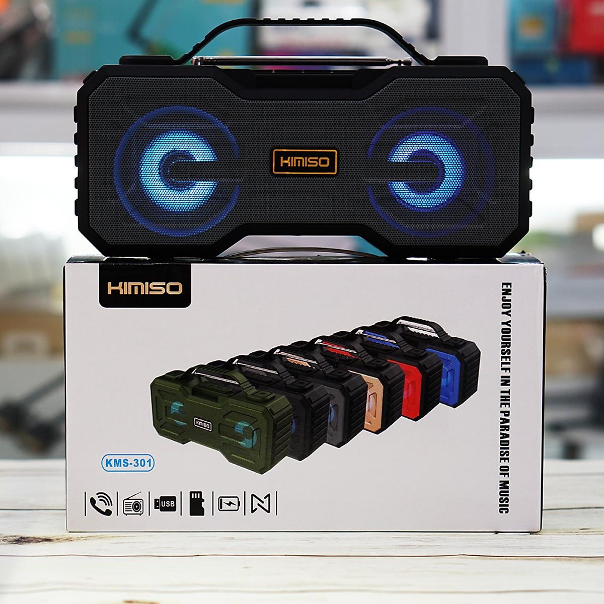 Loa bluetooth siêu bass Kimiso KMS-301, âm thanh trong âm bass siêu trầm, có quai xách, đèn led đổi màu sống động, có fm - hàng nhập khẩu(màu ngẫu nhiên)