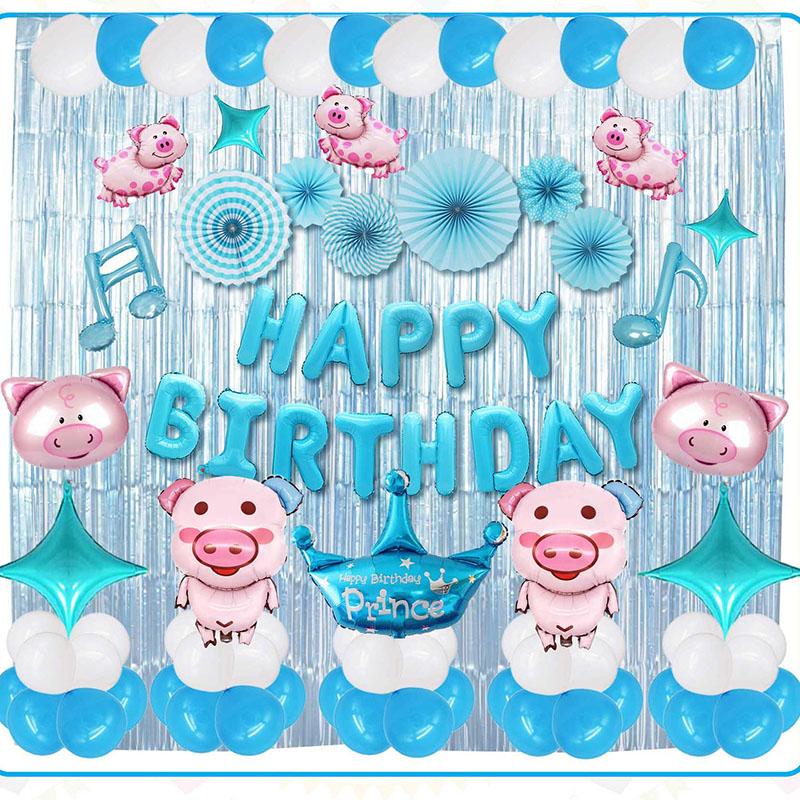 Set bong bóng trang trí sinh nhật chủ đề bé heo đáng yêu tông xanh chủ đạo xinh xắn, đáng yêu cho các bé YBHP-011