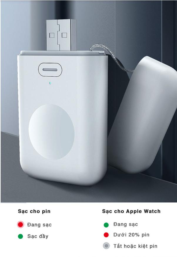 Pin dự phòng đa năng kèm đầu USB Charger cho Apple Watch
