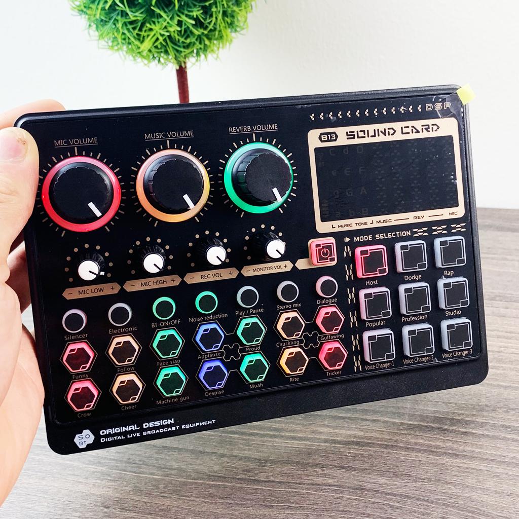 Combo trọn bộ Sound card B13 , mic BM800 ,tai nghe kiểm âm, chân kẹp, màng lọc, hát karaoke , livestream ,thu âm chuyên nghiệp - hàng chính hãng
