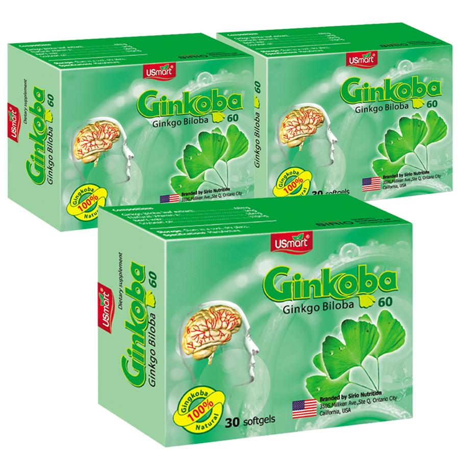 Combo 3 Hộp Thực Phẩm Chức Năng Tăng cường tuần hoàn não Ginkoba Sirio Pharma (30 viên)