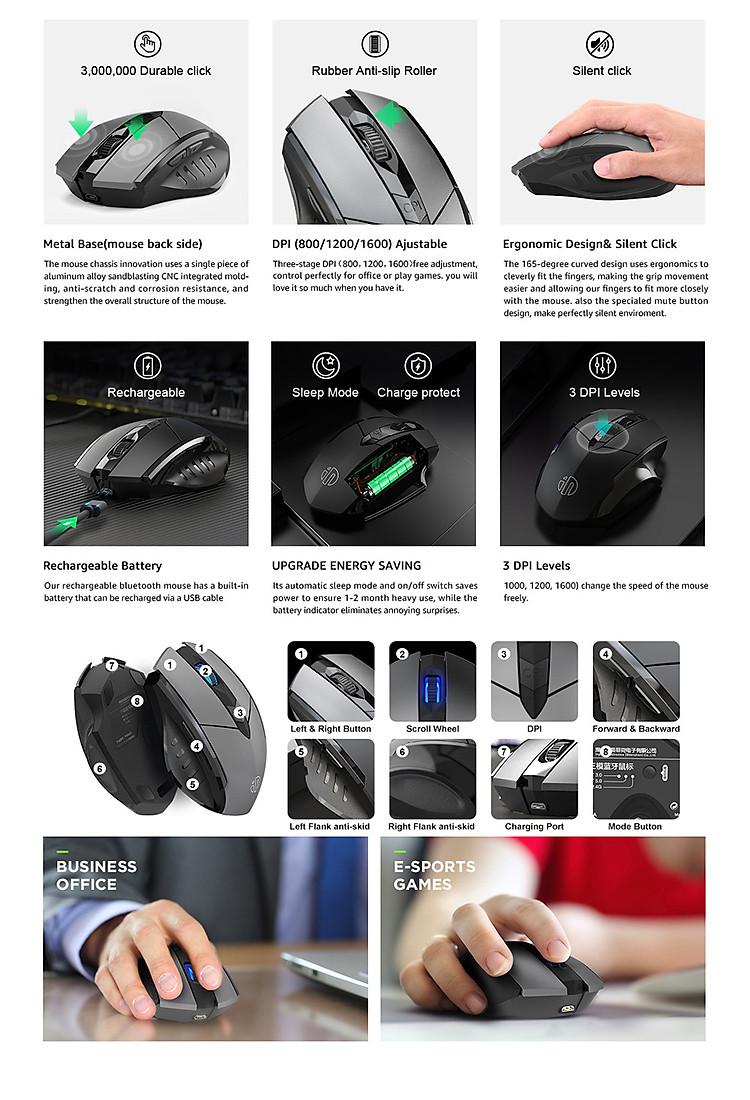 Chuột không dây Inphic PM6 USB 2.4G Bluetooth/Wifi có thể sạc pin lại cho máy tính xách tay - Hàng chính hãng