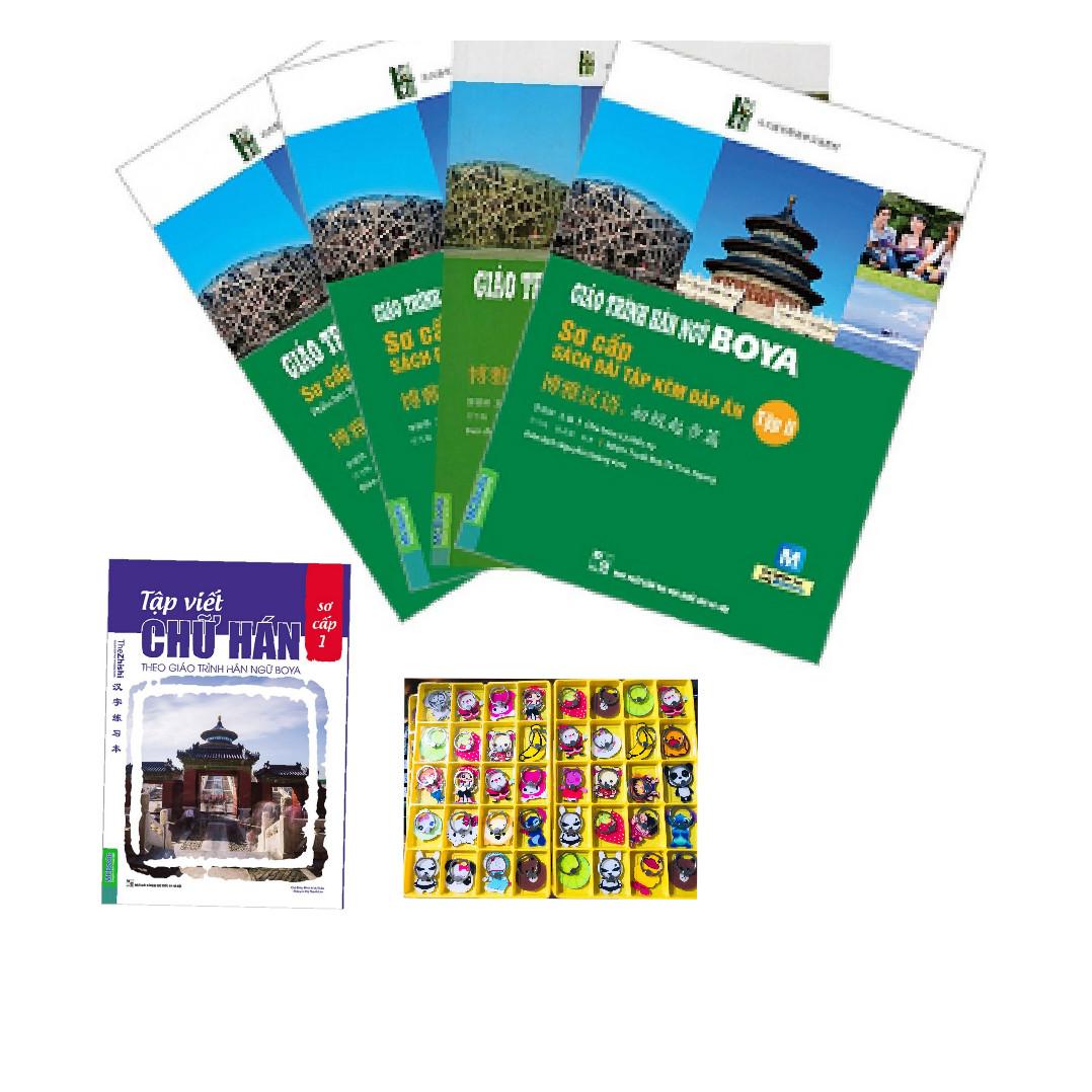 Combo 4 cuốn Giáo trình hán ngữ Boya sơ cấp 1+2 và Giáo trình hán ngữ Boya 1+2  kèm sách bài tập đáp án ( tặng tập viết boya + 1 iring )