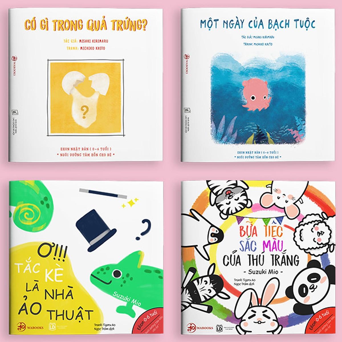 Combo 4 Cuốn Ehon Nhật Bản SỰ KỲ DIỆU CỦA MÀU SẮC: Có Gì Trong Quả Trứng + Một Ngày Của Bạch Tuộc + Ơ!!! Tắc Kè Là Nhà Ảo Thuật + Bữa Tiệc Sắc Màu Của Thú Trắng (Ehon Nuôi Dưỡng Tâm Hồn Cho Bé Từ 0 - 6 Tuổi/ Tặng Kèm Bookmark Happy Life)