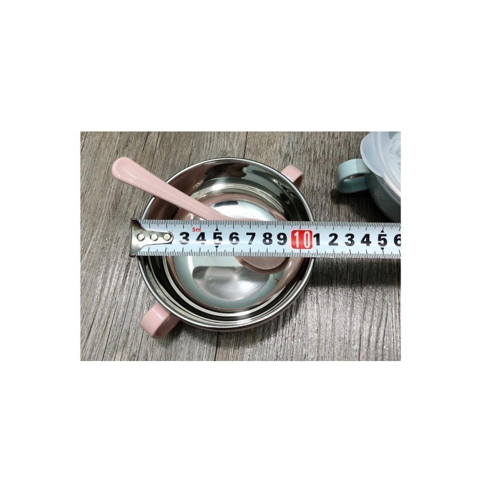 Bát chống nóng, chén bát ăn dặm hai lớp ruột inox chống nóng tốt có nắp đậy kèm thìa tiện dụng