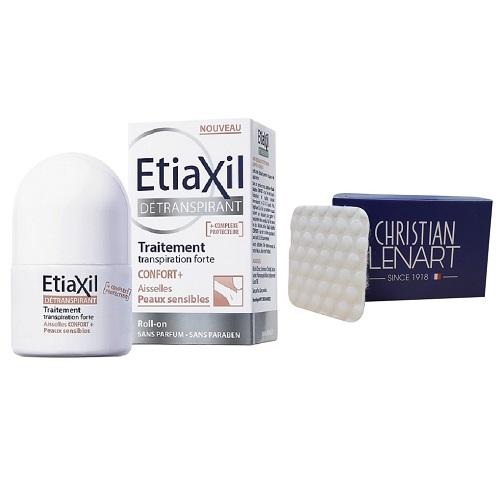 Lăn khử mùi Etiaxil Détranspirant Traitement Confort+ Aisselles Peaux Sensibles 15ml (Dành cho da siêu nhạy cảm) + Tặng bông tẩy trang Christian Lenart 50 miếng