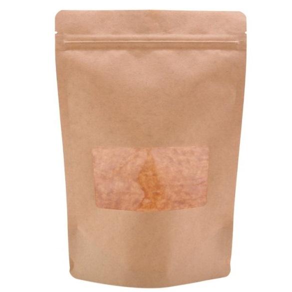 Túi giấy Kraft nâu zipper cửa sổ nhỏ 18x26 cm (1kg)
