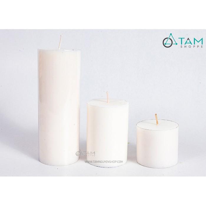 Nến trụ trắng trang trí cao 10cm và 15cm