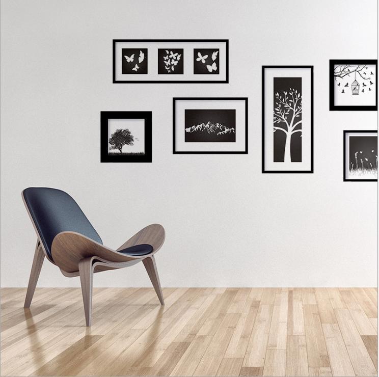 Decal trang trí phòng khách 3D khung ảnh đen nghệ thuật DKN134 (55 x 155 cm)