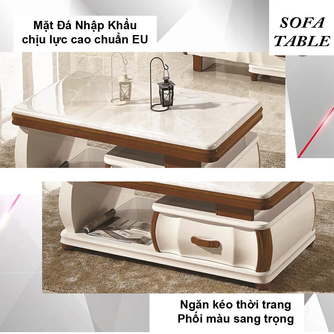 Bàn Sofa Mặt Đá Size 1.2m / 1 Ngăn Kéo / Dòng Cao Cấp - Hàng Nhập Khẩu AZP-T200