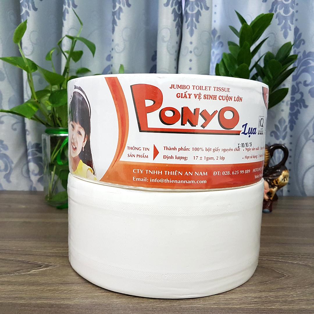 Combo (12 cuộn) giấy vệ sinh cuộn lớn Jumbo Ponyo 700g - LỤA